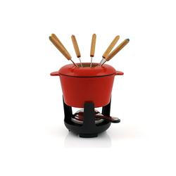 BBQ-Toro Bräter BBQ-Toro Gusseisen Fondueset, rot emailliert, 1 L, für 6 Personen