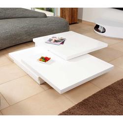 Hochglanz Couchtisch in Weiß schwenkbaren Tischplatten