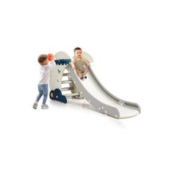 COSTWAY Rutsche Rutsche, mit Basketballkorb, Rutschbahn klappbar, Kinderrutsche, Gartenrutsche, Wellenrutsche, Kleinkinderrutsche für Indoor und Outdoor