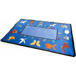 Primaflor-Ideen in Textil Kinderteppich BILDER & BUCHSTABEN, rechteckig, 5 mm Höhe, Spielteppich, Alphabet lernen, Kinderzimmer blau Kinder Kinderteppiche mit Motiv Teppiche