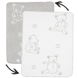 ALVI Babydecke Baumwolle mit Kettelkante Teddy grau