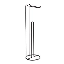 WENKO Lugano 2in1 Stand Toilettenpapierhalter, Stilvolle Toilettenpapieraufbewahrung für bis zu 3 Ersatzrollen, Maße (Ø x H): 15,5 x 54 cm