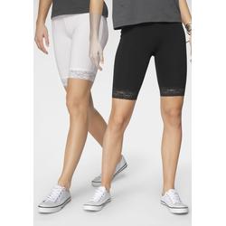Flashlights Radlerhose, (Packung, 2er-Pack), mit Spitze weiß Damen Kurze Hosen Radlerhose