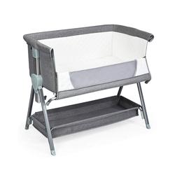 COSTWAY Babybett 2 in 1 höhenverstellbares Beistellbett & Kinderbett grau 56 cm x 93 cm x 83 cm