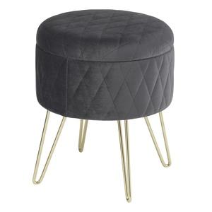 Sitzhocker mit Stauraum mit Deckel Aufbewahrungsbox aus Samt und Metall#1702