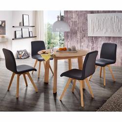 Esstisch mit Stühlen mit rundem Tisch Stühle in Schwarz Kunstleder (5-teilig)