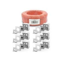 ARLI Netzwerk-Adapter, Cat7 Verlegekabel 100 m S/FTP PIMF Halogenfrei Netzwerkkabel Netzwerk Kabel + 6x Cat6a Netzwerkdose Set