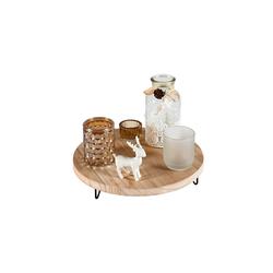 HTI-Living Kerzenhalter Kerzenhalter Holz Glas mit Holztablett