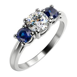Verlobungsring mit Diamanten und Saphiren Keer