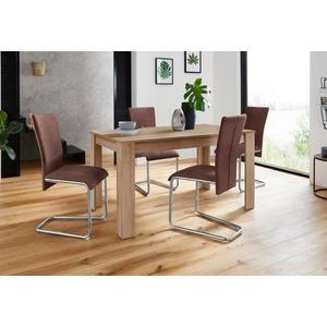 Homexperts Essgruppe Nick3-Mulan, (Set, 5-tlg), mit 4 Stühlen, Tisch in eichefarben sägerau, Breite 140 cm braun
