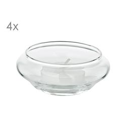 EDZARD Windlicht Iris (4er-Set), Schwimm-Teelichthalter aus Kristallglas, Höhe 4 cm, Ø 8 cm