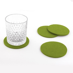 4 Filz Untersetzer Glasuntersetzer rund - grün