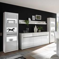 Design Wohnwand in Weiß Hochglanz und Beton Grau Sideboard (4-teilig)
