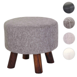Sitzhocker HWC-C29, Ottomane Hocker Fußhocker, Ø 42cm rund ~ Textil grau