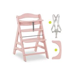 Hauck Hochstuhl Alpha Plus - Rose (2 Stück), Mitwachsender Holz Treppenhochstuhl mit Schutzbügel und Gurt