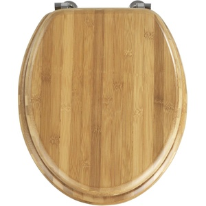 WENKO WC-Sitz Bambus Dunkel - Toilettensitz, Edelstahlbefestigung, Bambus, 34 x 41 cm, Dunkelbraun