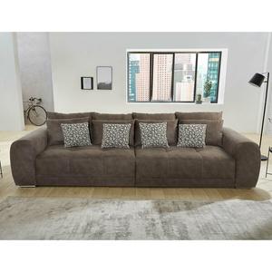 Bigsofa Megasofa Xxl Sofa Moldau Couch Microfaser Braun Mit Federkern Und Kissen