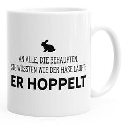 MoonWorks Tasse Kaffee-Tasse Spruch-Tasse an alle die wissen wie der Hase läuft - er hoppelt Büro-Tasse MoonWorks® einfarbig
