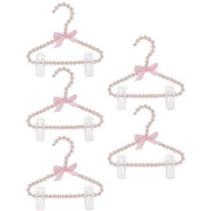 Backbayia Kunststoff Perlen Kleiderbügel Baby Kinder Kleiderbügel Hosenbügel Rockbügel (Typ2 Rosa 5pcs)