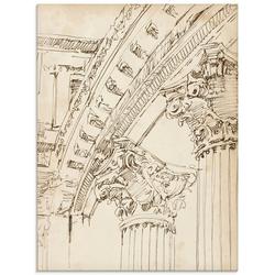 Artland Glasbild Architektur Skizzenbuch IV, Architektonische Elemente (1 Stück) 45 cm x 60 cm x 1,1 cm