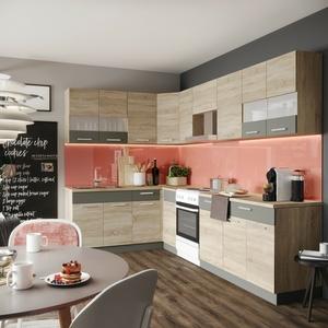 Küche Küchenzeile Einbauküche Küchenblock L-form Küche - Sonoma Eiche Neu