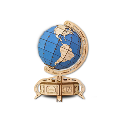 Eco Wood Art 3D-Puzzle Globus - blau – mechanischer Modellbausatz aus Holz, Puzzleteile