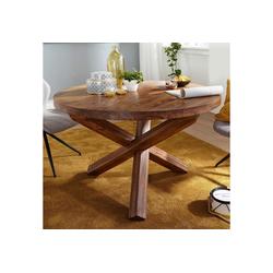 FINEBUY Esstisch SuVa6334_1, Design Esszimmertisch rund Ø 120 cm x 75 cm Massiv-Holz Landhaus Esstisch 4 Personen Küchentisch Tisch für Esszimmer braun (FSC® Mix) braun