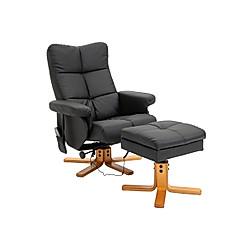 Massagesessel mit Fußhocker (Farbe: schwarz)