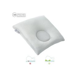 SEI Design Babykissen mit Kopfmulde gegen Plattkopf, inkl. Bezug, für eine natürliche Kopfform grau 1-8 Monate - 28 cm x 28 cm