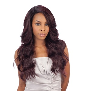 FreeTress Equal - Brazilian Natural Collection Lace Front Wig DANITY - L-Shape Perücke Lace Wig, Farbe: OP99J (Schwarz/Rot-Violett MIX)