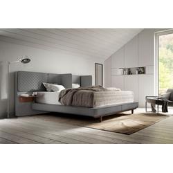 Schlaraffia Boxspringbett Silence, in Grau, Nachtkonsole und Holzfuß in Nussbaum grau 206 cm x 213 cm