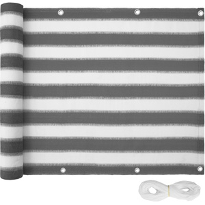 Balkon Sichtschutz, Variante 2 weiß/grau gestreift 90 cm