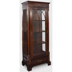 Casa Padrino Luxus Vitrine Dunkelbraun 70 x 45 x H. 192 cm - Mahagoni Vitrinenschrank mit Glastür und Schublade - Luxus Mahagoni Wohnzimmer Möbel