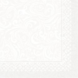 "Mank Tissue Servietten Ornaments ""LIAS"", 40 x 40 cm, 1/4 Falz, 3-lagig, 1 Karton = 6 x 100 Stück = 600 Servietten, weiß"