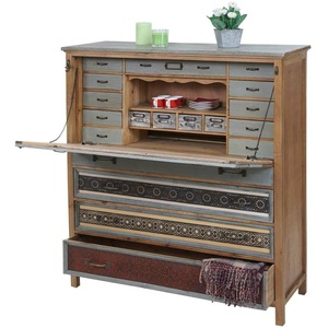 Sekretär HWC-A43, Schrank, Tanne Holz massiv Vintage Patchwork 113x99x36cm