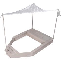roba Sandkasten Schiff, mit Sonnendach, HxBxT: 150 x 100 142 cm grau Kinder Sandkiste Sandspielzeug Outdoor-Spielzeug