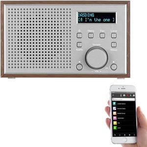 WLAN-Internetradio mit Holzdesign-Gehäuse, 2 Weckzeiten & App, 10 Watt