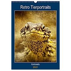 Retro Tierportraits (Wandkalender 2021 DIN A3 hoch)
