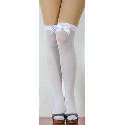 Overknee Strümpfe mit Schleifen halterlos Sexy Strumpfhose - weiß