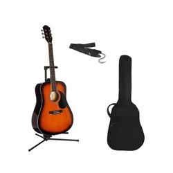 Gitarrenset Westerngitarre 4/4, mit Tasche und Gitarrengurt braun