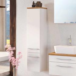 Hängender Badschrank in Weiß und Wildeiche Dekor 30 cm breit