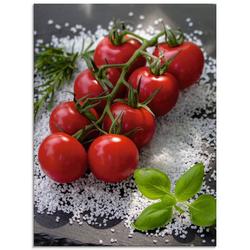 Artland Glasbild Tomaten Rispe auf Salz, Lebensmittel (1 Stück)