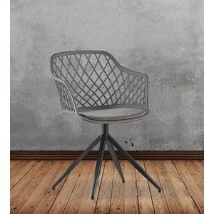 KAWOLA Esszimmerstuhl EMILIE, Stuhl Kunststoff drehbar mit Kissen versch. Farben grau