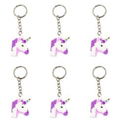 6 x Schlüsselanhänger Einhorn Unicorn Anhänger Mitgebsel lila
