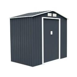 Helloshop26 - Abri de jardin en métal cabane à outils en tôle galvanisée 213 x 127 x 185 cm gris