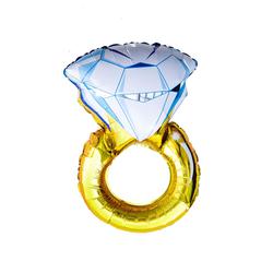 Folien Luftballon Diamant Ring Trauring Hochzeitsring Folienballon Hochzeit JGA Verlobung - gold weiß