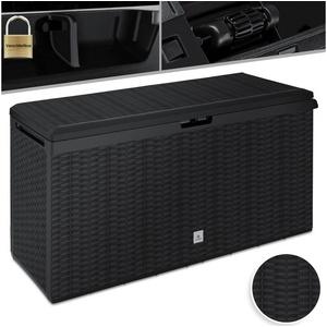 KESSER Aufbewahrungsbox, Auflagenbox Kissenbox 290 Liter mit Rollen klappbarer Deckel Haltegriffe Rattanoptik Gartenbox schwarz
