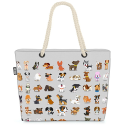 VOID Strandtasche (1-tlg), Hundewelpen Comic grau Beach Bag Hunde Hündchen Welpen Haustier Tiere Babys
