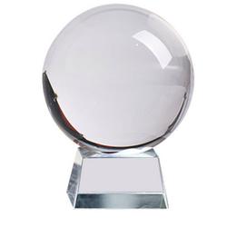H-basics Dekokugel Glaskugel mit Glas-Ständer Klare Kristallkugel für Fotografie, zur Dekoration, als Lensball, zur Meditation, Wahrsager uvm. weiß