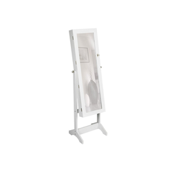 tectake Standspiegel Schmuckschrank mit Spiegel, hochkant weiß